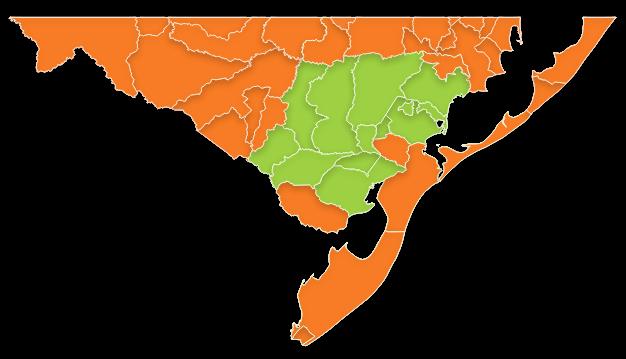 mapa das regiões